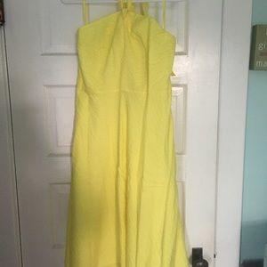 Yellow J. Crew cotton halter dress